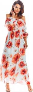Sukienka Awama maxi w stylu boho z długim rękawem
