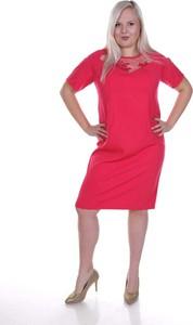 Sukienka Fokus z tkaniny z krótkim rękawem dla puszystych