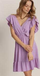 Fioletowa sukienka Renee z krótkim rękawem mini