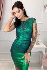 Zielona sukienka TAGLESS z okrągłym dekoltem
