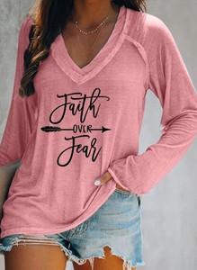 Różowa bluzka Sandbella z długim rękawem z dekoltem w kształcie litery v