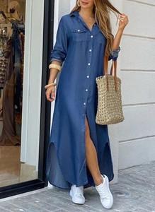 Sukienka Sandbella z kołnierzykiem z długim rękawem w stylu casual
