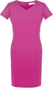 Sukienka Fokus midi z dekoltem w kształcie litery v z krótkim rękawem