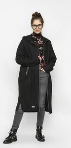 Czarny płaszcz Freeshion z wełny
