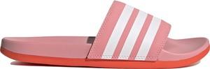 Różowe klapki Adidas z płaską podeszwą