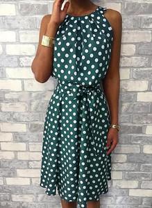 Zielona sukienka Cikelly z bawełny z okrągłym dekoltem