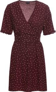 Czerwona sukienka bonprix BODYFLIRT z krótkim rękawem z dekoltem w kształcie litery v w stylu casual