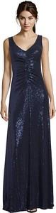 Granatowa sukienka Vera Mont na ramiączkach maxi dopasowana