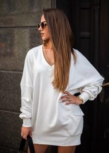 Sukienka Fason z bawełny oversize z długim rękawem