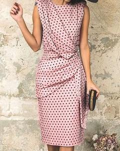 Różowa sukienka Kendallme midi z okrągłym dekoltem ołówkowa