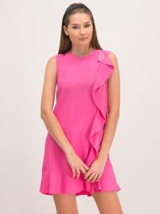 Różowa sukienka Red Valentino mini z okrągłym dekoltem trapezowa