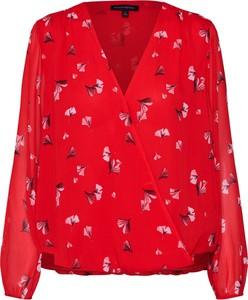 Czerwona bluzka Banana Republic z dekoltem w kształcie litery v z długim rękawem