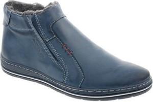 Granatowe buty zimowe butyolivier.pl ze skóry