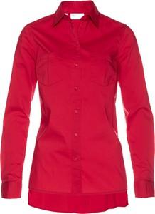 Czerwona koszula bonprix bpc selection z długim rękawem z kołnierzykiem