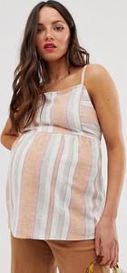 New Look Maternity New Look - Maternity - Biały top cami w paski z kwadratowym dekoltem