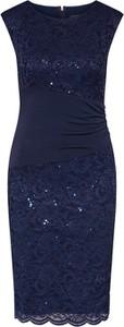 Granatowa sukienka Swing bez rękawów midi z okrągłym dekoltem