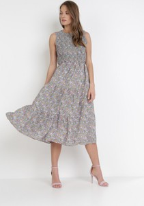 Fioletowa sukienka born2be z okrągłym dekoltem bez rękawów midi