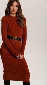 Czerwona sukienka Renee z długim rękawem w stylu casual