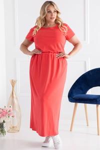 Czerwona sukienka KARKO z krótkim rękawem z okrągłym dekoltem