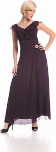 Fioletowa sukienka Fokus z dekoltem w kształcie litery v w stylu boho maxi
