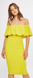Żółta sukienka Answear dopasowana z krótkim rękawem midi