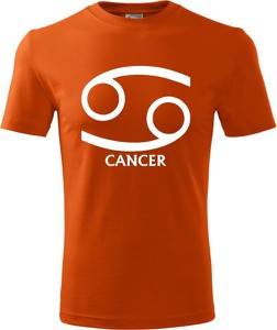 Pomarańczowy t-shirt TopKoszulki.pl z krótkim rękawem