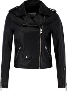 Czarna kurtka Calvin Klein w rockowym stylu ze skóry