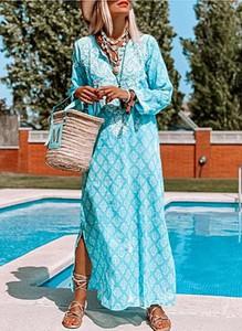 Niebieska sukienka Cikelly maxi w stylu boho