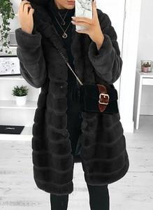 Kieszonkowy pluszowy płaszcz z długim rękawem i kapturem kurtka czarny Cikelly (S)