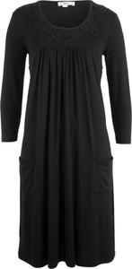 Sukienka bonprix bpc bonprix collection w stylu casual z okrągłym dekoltem midi