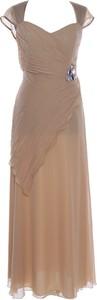 Brązowa sukienka Fokus maxi z szyfonu z krótkim rękawem