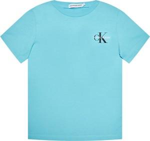 Bluzka dziecięca Calvin Klein z jeansu z krótkim rękawem dla chłopców