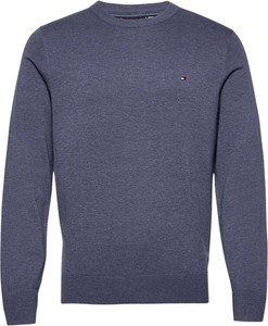 Niebieski sweter Tommy Hilfiger w stylu casual z okrągłym dekoltem