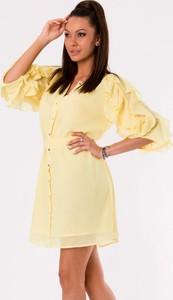 64c3284ff5 Żółta sukienka Moda Dla Ciebie z bawełny z długim rękawem koszulowa