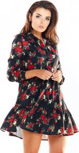 Sukienka Awama z długim rękawem w stylu casual z dekoltem w kształcie litery v