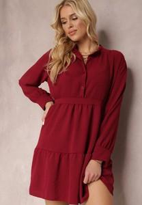Czerwona sukienka Renee z długim rękawem