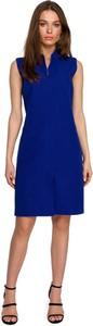 Niebieska sukienka Style mini bez rękawów z tkaniny