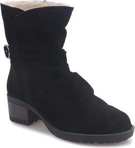 Czarne botki Gemre.com.pl w stylu casual z zamszu