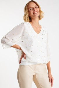 Bluzka Monnari z dekoltem w kształcie litery v z długim rękawem w stylu casual