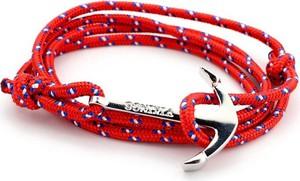 No Logo Bransoletka męska sznurek KOTWICA. czerwona