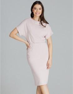 Różowa sukienka LENITIF z krótkim rękawem midi