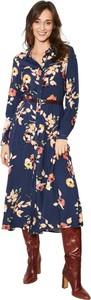 Niebieska sukienka Click Fashion z kołnierzykiem