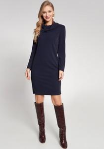 Granatowa sukienka QUIOSQUE z długim rękawem mini