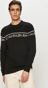 Czarny sweter Calvin Klein z dzianiny z okrągłym dekoltem