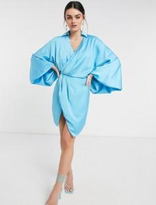 Sukienka Asos mini z satyny z długim rękawem