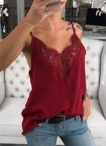Czerwona bluzka Sandbella z dekoltem w kształcie litery v z długim rękawem