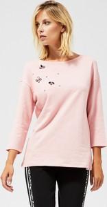 Bluzka Moodo z okrągłym dekoltem z długim rękawem w stylu casual