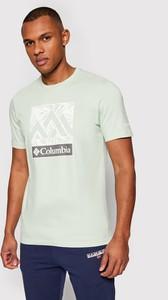 Zielony t-shirt Columbia z krótkim rękawem w młodzieżowym stylu