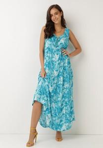Turkusowa sukienka born2be na ramiączkach z dekoltem w kształcie litery v maxi
