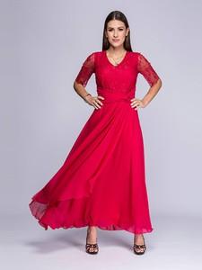 Sukienka Semper z dekoltem w kształcie litery v z długim rękawem rozkloszowana